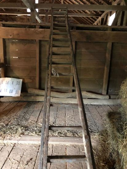 Wooden extension ladder, approximately 30'