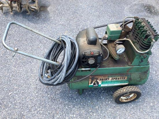 3/4 HP air compressor with hose in working condition