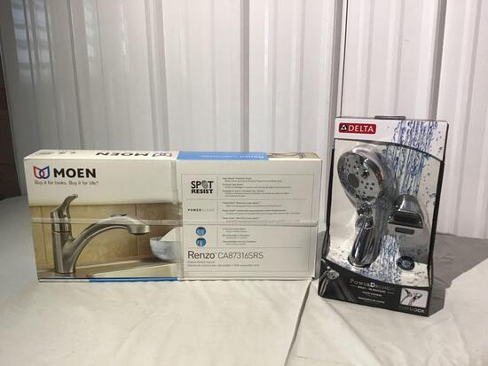 Omen faucet and Delta power drench hand shower