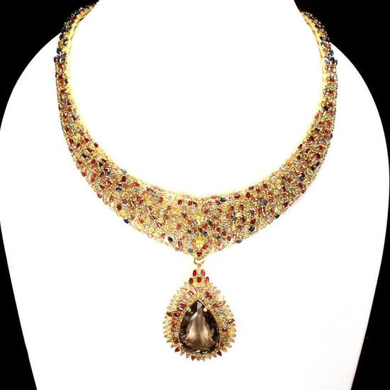 Natural Smoky Quartz Ruby  & Fancy Sapphire Necklace