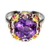 Natural Amethyst 11 MM, Multi Gems  & Emerald Ring
