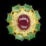 Oval Red Ruby 10x8mm Green Emerald Ring