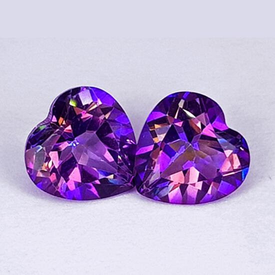 Natural Pinkish Purple Mystic Topaz Heart Pair