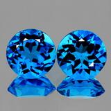 Natural  AAA Swiss Blue Topaz Pair 10.00 MM - Flawless