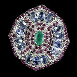 Natural Green  Emerald Ruby  & Tanzanite Ring