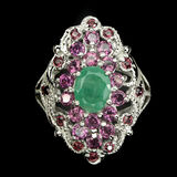 Natural  Emerald & Rhodolite Garnet Ring