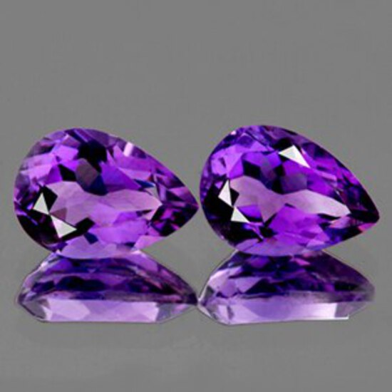 Natural Purple Amethyst Pair 13x9 MM{Flawless-VVS1}