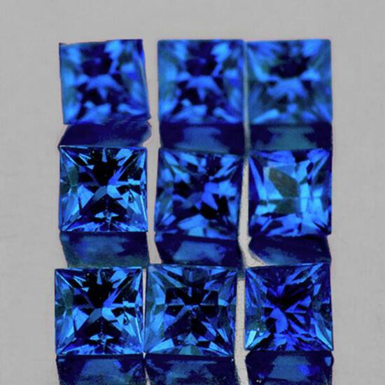 Natural Royal Blue Sapphire 9 Pcs [VVS]