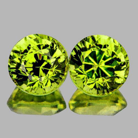 Natural AAA Green Yellow Mali Garnet Pair{Flawless-VVS}