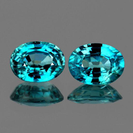 Natural Seaform Cambodian Blue Zircon Pair 9x7 MM