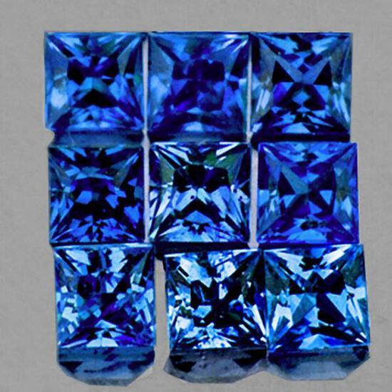 Natural  Blue Sapphire 9 Pcs [VVS]