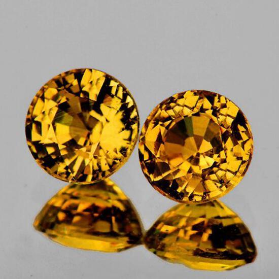 Natural  AAA Yellow Mali Garnet Pair{Flawless-VVS}
