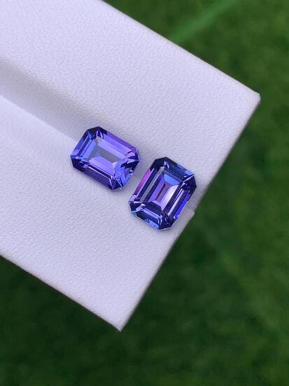 Natural Emerald Cut Tanzanite Pair 3.58 Carats - VVS