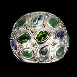 Natural Aquamarine, Emerald, Sapphire, Tanzanite Ring