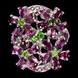 Natural Rhodolite Garnet & Chrome Diopside Ring
