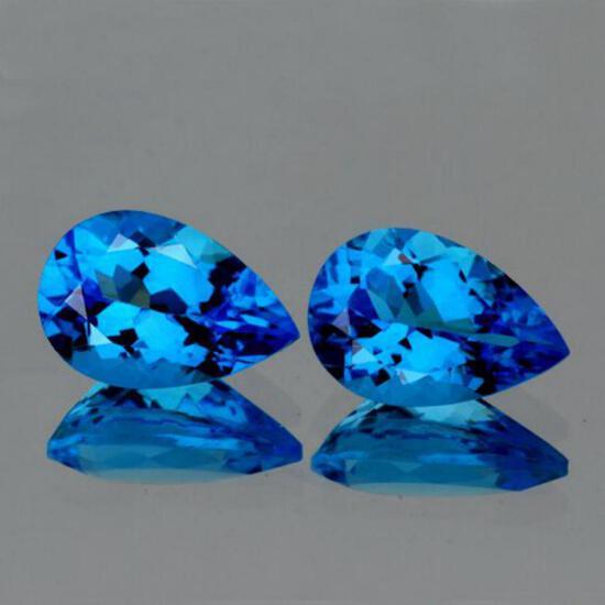 Natural Swiss Blue Topaz Pair{Flawless-VVS1}