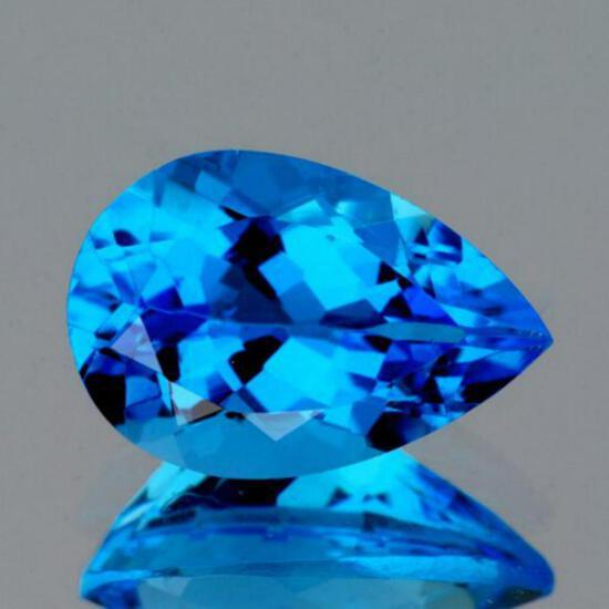 Natural AAA Swiss Blue Topaz 12x8 MM{Flawless-VVS1}