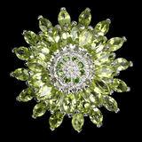 Natural Peridot &  Chrome Diopside Ring