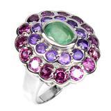 Natural Colombian Emerald Amethyst Rh-Garnet Ring