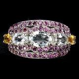 Natural Aquamarine Citrine Rhodolite Garnet Ring