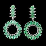 Natural Untreated Colombian Emerald Earrings