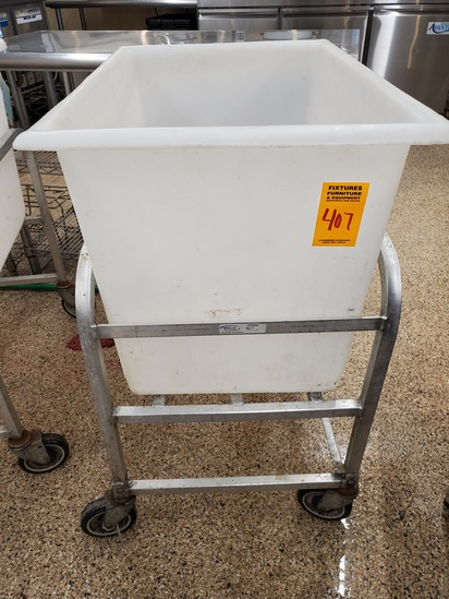 White Dump Bin with Cart
