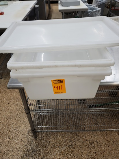 2 White Totes with Lids