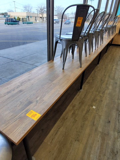 """24ft x 24"""" Wood Block Counter & 10 Chairs"""