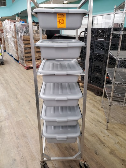 Aluminum Bread Rack with 6 Tubs