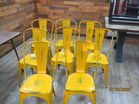 Group Of 8 Metal Bistro Chairs