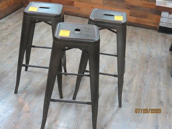 Set Of 3 Metal Bistro Stools