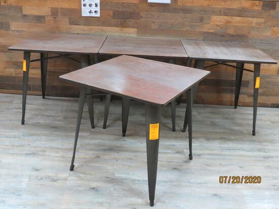 Set Of 4 Wood Top Bistro Tables