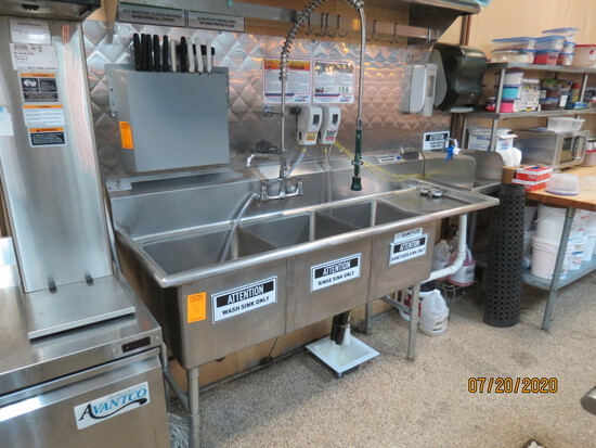 3 Basin Wash Sink With Sprayer And Sanitizing System