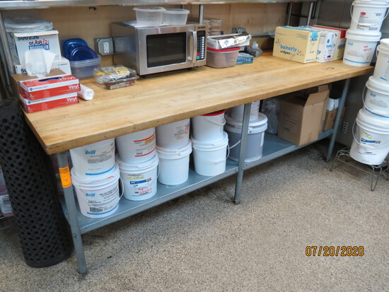 Large Butcher Block Prep Table