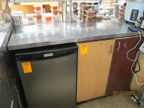 Stainless Steel Top, Wooden Cabinet.