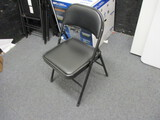 12 - Metal Folding Chairs - Black With Padded Backs And Seats