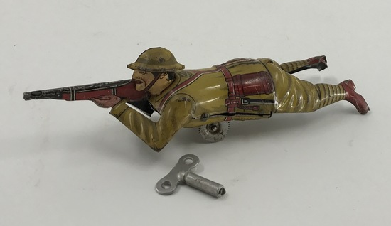Marx Tin Litho Crawling Soldier Wind Up Toy