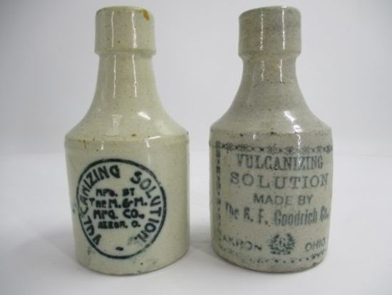 LOT (2) Stoneware Advertising Bottles - Vulcanizing Solution BF Goodrich
