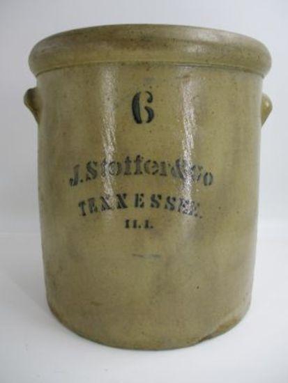 6 Gal. J. Stoffer & Co. Salt Glaze Crock - Tennessee, IL