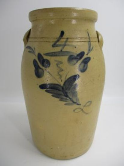 4 Gal. Decorated Eastern American Salt Glaze Churn