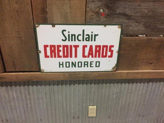 Porcelain Sinclair Credit Card Sign