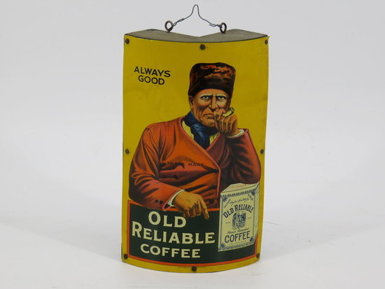 """Litho tin """"Old Reliable"""" coffee advertising piece"""