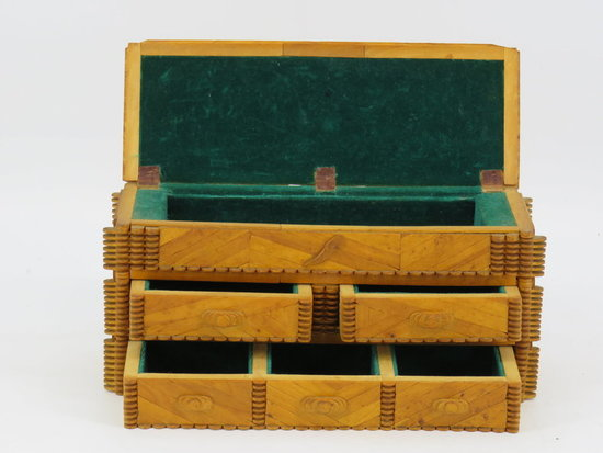Folk wood valuables box c. 1900