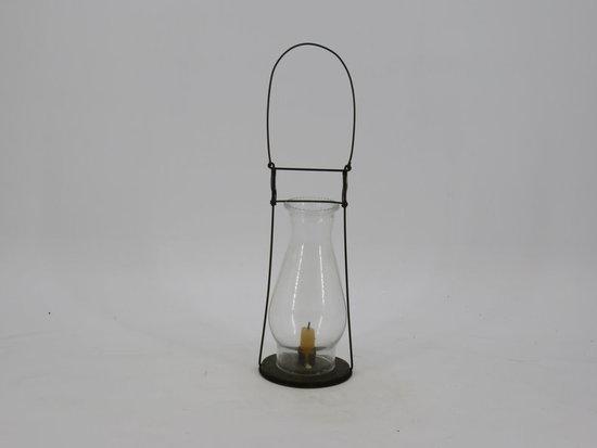 19th century skater's lantern tin/glass