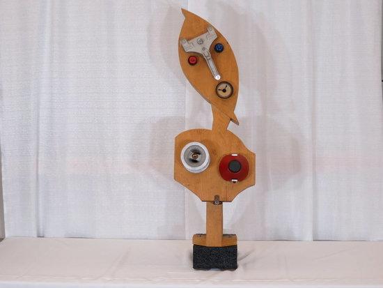 Wood/steel sculpture iron base