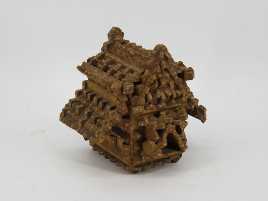 tramp art carved wood house