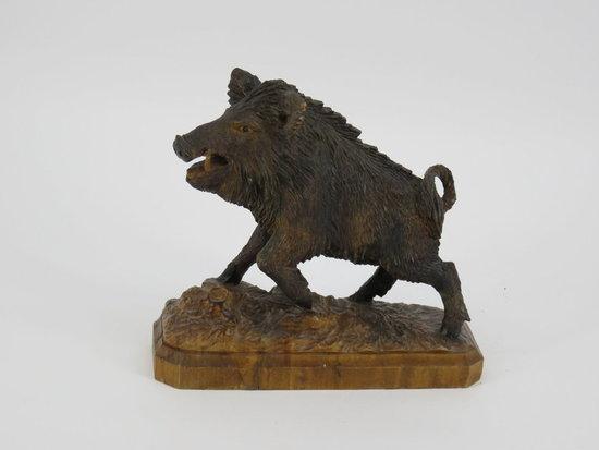 Folk carved wild boar wood platform - American c. 1920