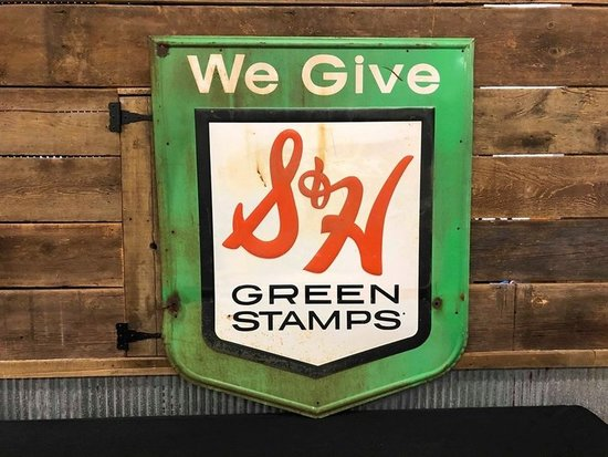 We Give S & H Green Stamps Embossed Tin Sign