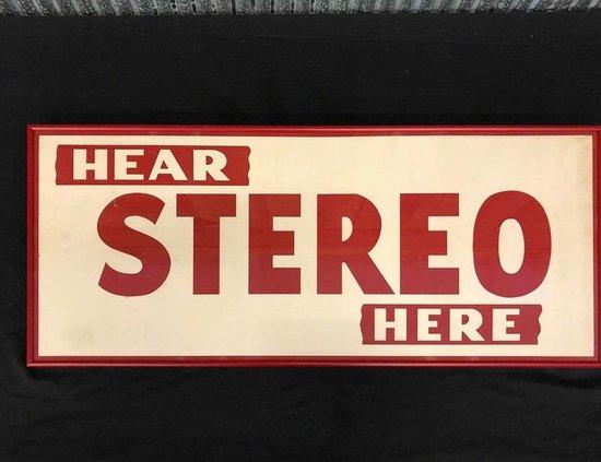Hear Stereo Here Framed Cardboard Sign