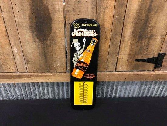 Nesbitt'......s Orange Soda Tin Thermometer w/ Professor & Bottle